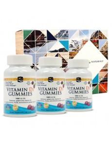 비타민D3 구미, 와일드 베리 1000 IU 60 구미 3개 세트 (기프트 박스 포함)